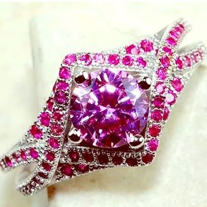 Jewelry - Sterling silver pink sapphire and rubies ring